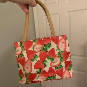 Beautiful Vintage Strawberry Print Mini Bag